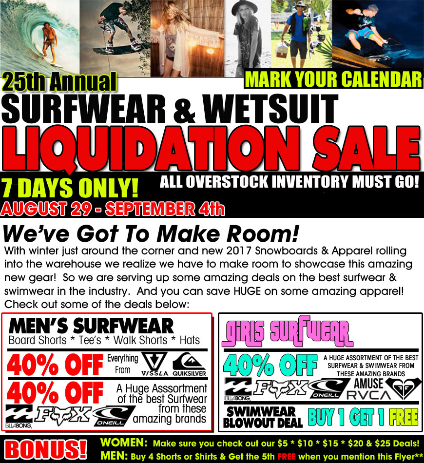 Surfwear liquidation wetsuits super sale for Super liquidation